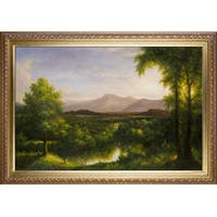 Thomas Cole 'View on the Catskill--Early Autumn, 1837' Hand Painted Framed Canvas Art - Green/Blue