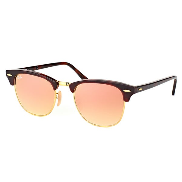 88924f7eff Ray-Ban Clubmaster Red Havana Plastic Sunglasses with Pink Flash Gradient  Lens