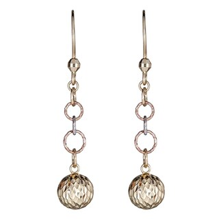 Decadence 14k Tri-color Gold 8-millimeter Diamond Cut Ball Dangling Earring