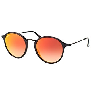 Ray-Ban Unisex RB 2447 901/4W Black Plastic and Orange Flash Gradient Lens Shiny Round Sunglasses