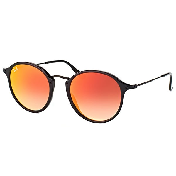 Ray-Ban Unisex RB 2447 901/4W Black Plastic and Orange Flash Gradient Lens Shiny Round Sunglasses