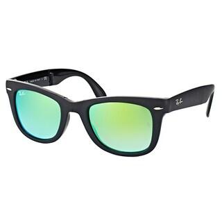 Ray-Ban Wayfarer Matte Black Plastic Folding Sunglasses with Green Flash Gradient Lens