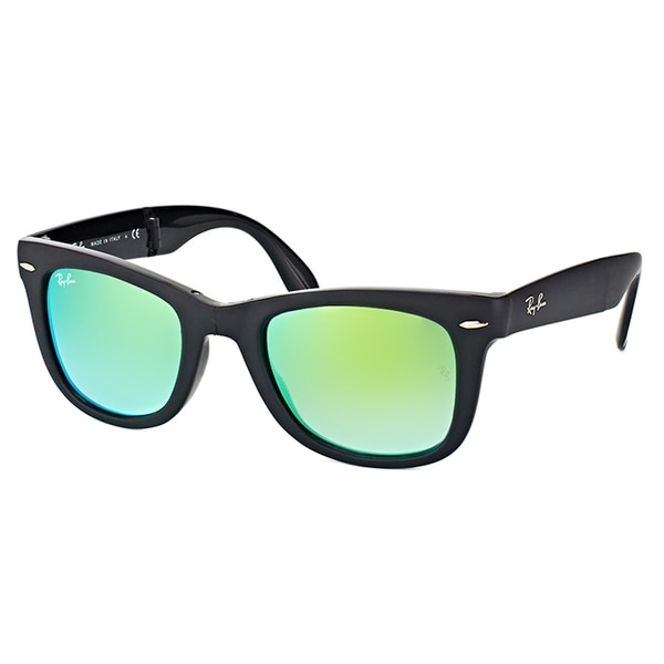 eac11a9a486e3 Ray-Ban Wayfarer Matte Black Plastic Folding Sunglasses with Green Flash  Gradient Lens