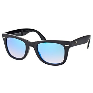 Ray-Ban Black Plastic Wayfarer Sunglasses with Blue Flash Gradient Lens