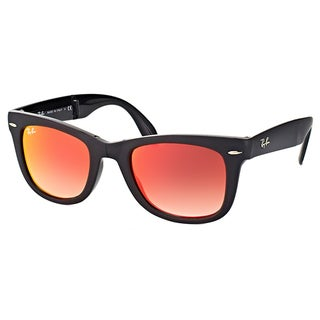 Ray-Ban Wayfarer Matte Black Plastic Sunglasses with Orange Flash Gradient Lens