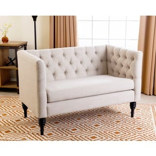 ABBYSON LIVING Marquette Tufted Beige Linen Settee