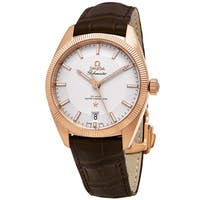 Omega Men's  'Globe master' Silver Dial Brown Leather Strap 18k Sedna Gold Swiss Automatic Watch
