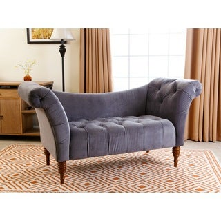 ABBYSON LIVING Lucille Tufted Light Grey Velvet Settee