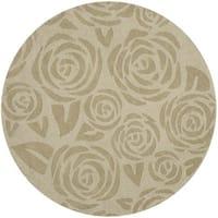Martha Stewart by Safavieh Block Print Rose Saguaro Wool Rug (4' Round) - 4'