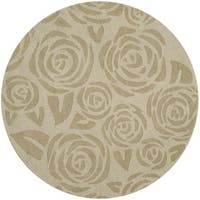 Martha Stewart by Safavieh Block Print Rose Saguaro Wool Rug - 8' Round