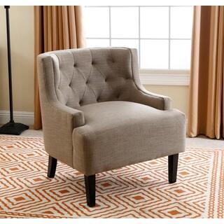 Abbyson Casey Beige Tufted Fabric Armchair