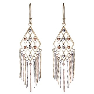 Decadence 14k Tri-color Gold DC Bead Chandelier Dangling Earrings