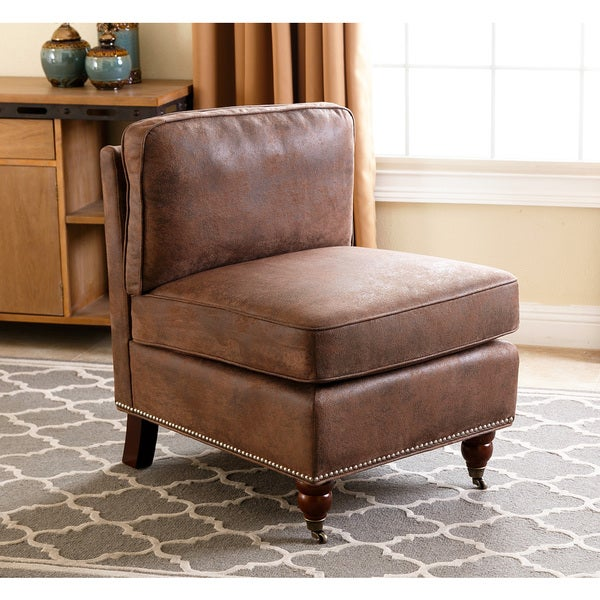 abbyson whitney antique brown armless chair free shipping today