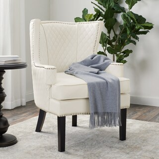 Abbyson Stephanie Quilted Leather Armchair, White