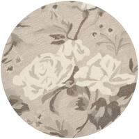 Martha Stewart by Safavieh Rose Chintz Bedford Grey Wool Rug - 4' x 4' Round