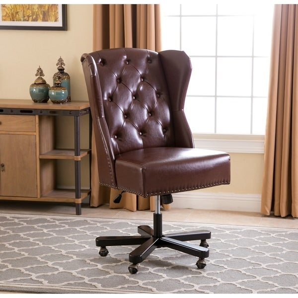 Shop Abbyson Maxwell Light Brown Leather Office Chair