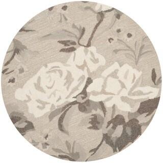 Martha Stewart by Safavieh Rose Chintz Bedford Grey Wool Rug - 8' Round