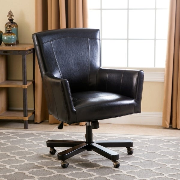 shop abbyson jackson black leather office chair on sale ships to rh overstock ca Vaughan Office Chairs Eames Office Chair