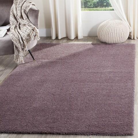 """Safavieh Velvet Shag Violet Polyester Rug - 6'7"""" x 6'7"""" Square"""