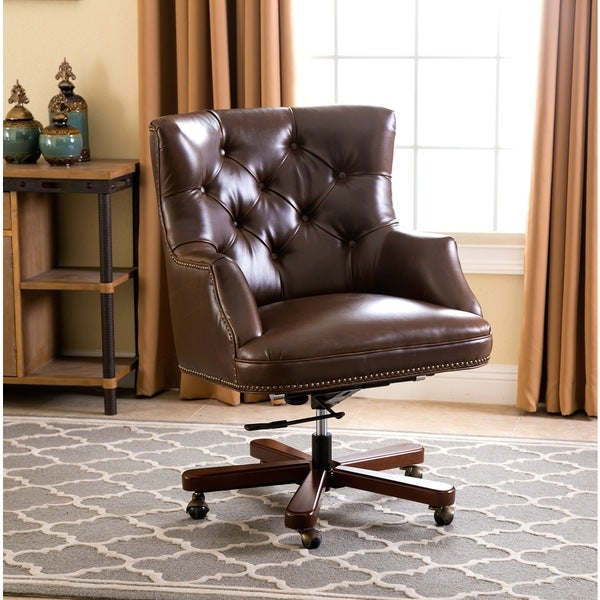 abbyson roosevelt brown leather office chair