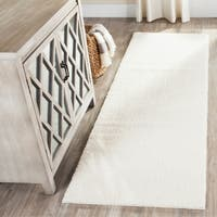 """Safavieh Velvet Shag White Polyester Rug - 2'3"""" x 7'"""