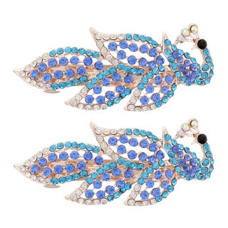 MoDA Fancy Peacock Multicolor Metal Barrettes (Set of 2)