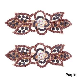 Moda Rose Bud Multicolor Metal Baby Barrettes (Set of 2) (Option: Purple)