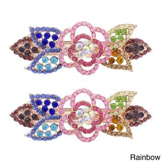 Moda Rose Bud Multicolor Metal Baby Barrettes (Set of 2) (Option: Rainbow)