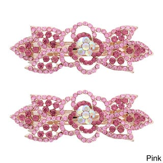 Moda Rose Bud Multicolor Metal Baby Barrettes (Set of 2)