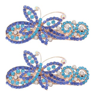Moda Multicolor Metal Butterfly Swirl Barrettes (Set of 2)