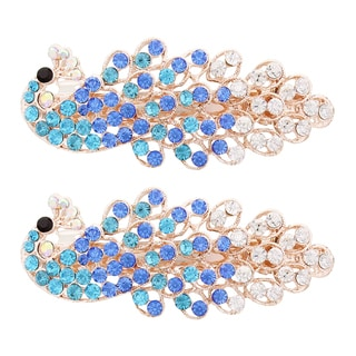 Moda Blue/Gold/Pink/Purple/Silver Metal Peacock Hair Barrettes (Set of 2)
