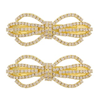 MoDA Glitz and Glamor Gold/Silver Metal Bow Barrettes (Set of 2) (Option: Gold)