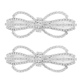 MoDA Glitz and Glamor Gold/Silver Metal Bow Barrettes (Set of 2)
