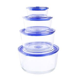 Kinetic GoGreen Glassworks Oven-safe Glass 8-piece Round Food Storage Container Set with Vacuum Lid