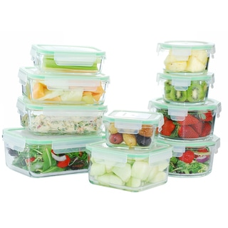 Kinetic GoGreen Glassworks Clear Glass 20-piece Oven-safe Food Storage Container Set with Plastic Lids