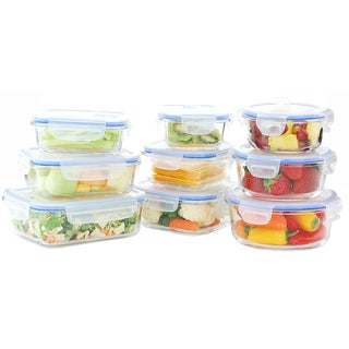 Kinetic GoGreen Glassworks Elements 18-piece Oven-safe Glass Food Storage Container Set with Vented Lid