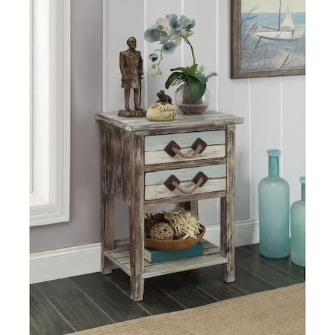 """Somette Two Drawer Accent Table, Islander Multicolor - 18""""L x 13""""W x 26""""H"""