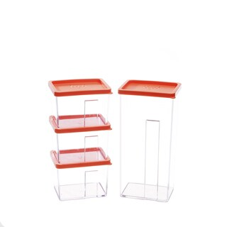 Kinetic GoGreen StackSmart 8-piece Rectangular Stackable Food Storage Container Set with Orange Lid
