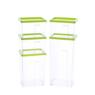 Kinetic GoGreen StackSmart Clear/Green Plastic 10-Piece Food Storage Container Set