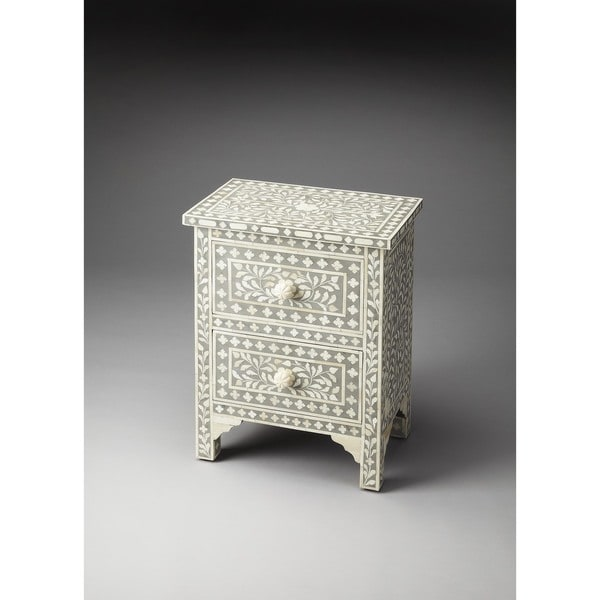 White And Gray Bone Inlay Accent Table: Shop Handmade Butler Vivienne Grey Bone Inlay Accent Chest