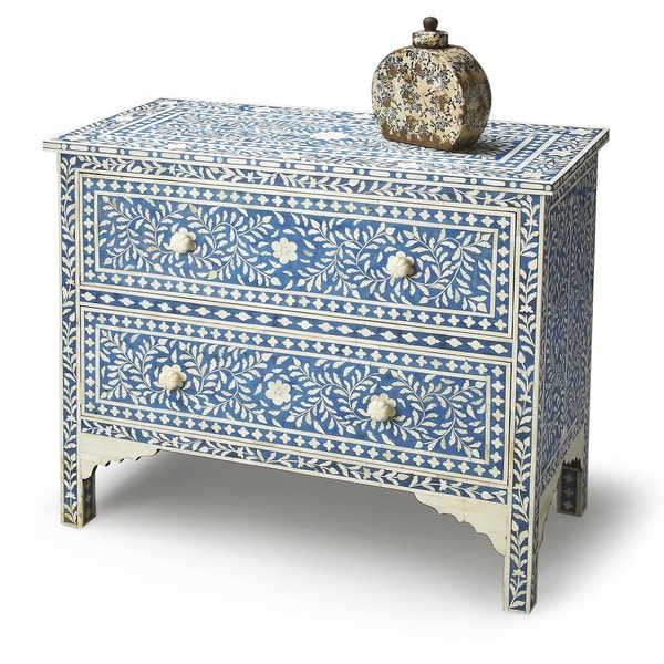 Shop Handmade Butler Vivienne Blue Bone Inlay Chest (India