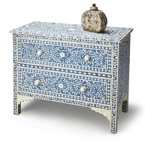 Handmade Butler Vivienne Blue Bone Inlay Chest (India)