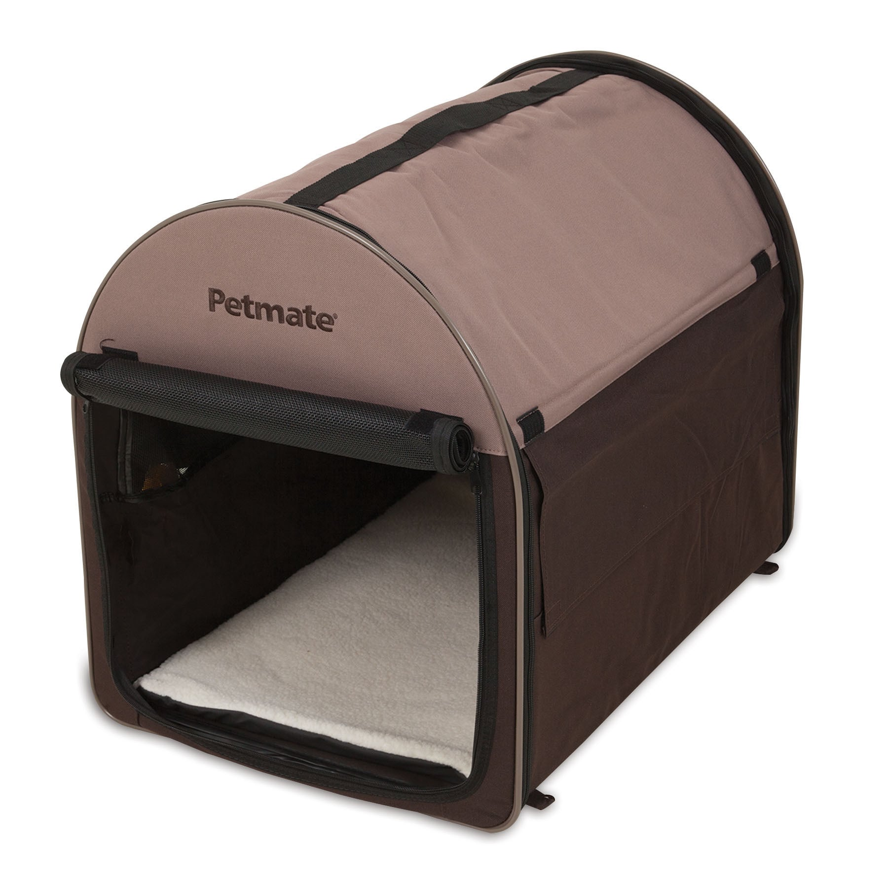Petmate Portable Dog Kennel and Pet Bed (Large), Brown