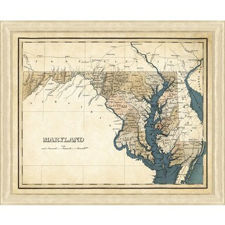 Wood/Glass Framed Map of Maryland Giclee Print