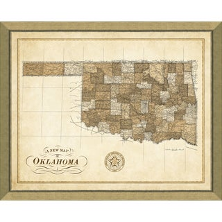 Multi-color Glass, Paper, Wood Map of Oklahoma Giclee Print