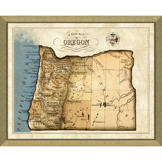 Map of Oregon Multicolor Glass/Paper/Wood Giclee Print