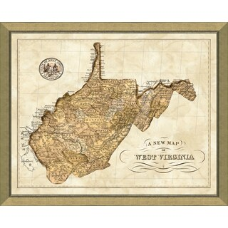 Map of West Virginia Framed Giclee Reproduction