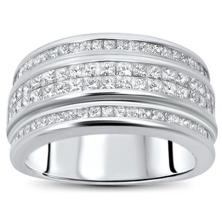 Noori 2 1/5ct Princess Cut Diamond Men's Wedding Band Ring 14k White Gold