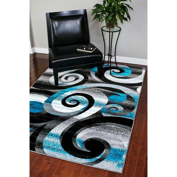 Persian Rugs Modern Trendz Abstract Turquoise Grey White Black Area Rug 5