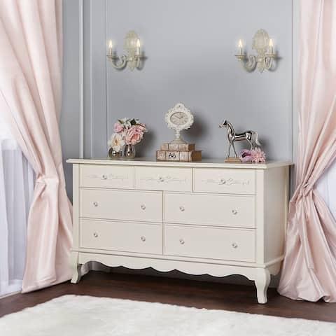 Evolur Aurora Cream Wood 7-drawer Double Dresser